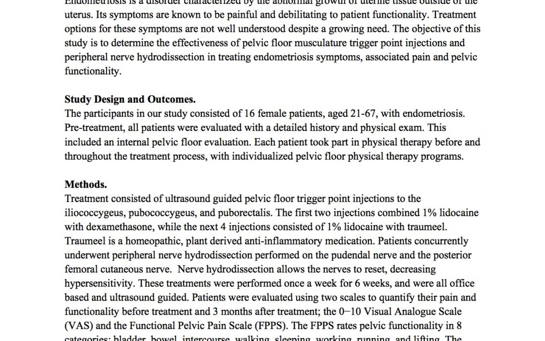 A Novel, Non-Opioid Treatment For Endometriosis Related Symptoms Utilizing Pelvic Floor Musculature Trigger Point Injections and Peripheral Nerve Hydrodissection